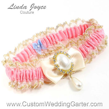 """Pink and Ivory WEDDING GARTER Gold Prom Garter """"Victoria"""" 151 Peony Pink 871 Ivory Orange Garter Plus Size & Queen Size Available too"""