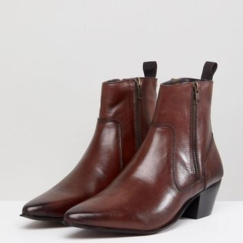 e18e058abf76 ASOS DESIGN stacked heel western boots With in brown leather at