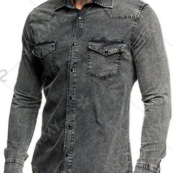 Snap Button Pocket Long Sleeves Denim Shirt - Gray - 2xl