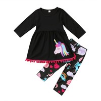 Children's Long-Sleeve Outfit (Black 2pc)