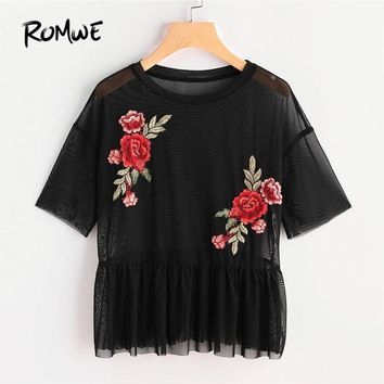 ROMWE Drop Shoulder Flower Patch Tulle Peplum Top Spring Black Round Neck Short Sleeve Ruffle Embroidery Sheer Women Blouse