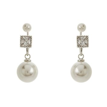 Sterling Silver Pearl and Square CZ Peek-A-Boo Earrings