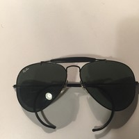 B&L Ray Ban USA 58[]14 Aviator Wrap Around Black Vintage Sunglasses