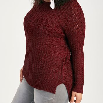 Plus Size Slouchy Open-Knit Sweater | Wet Seal Plus