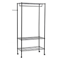 Heavy Duty Garment Rack with Top and Bottom Shelves 3-Tier Rolling Clothes Rack with Hanger Bar, Black ULGR45P