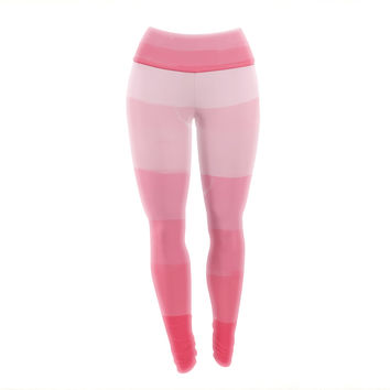 """Chelsea Victoria """"Pink Ombre Layer Cake"""" Pink Stripes Yoga Leggings"""