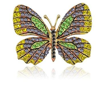 Tagoo Fashion Winged Butterfly Vintage Colorful Rhinestone Insect Brooch Pin in Crystal for WomenampGirls