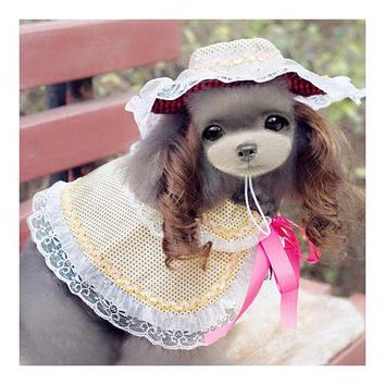 Dog Pet Clothes Cloak Wig Hat Suit