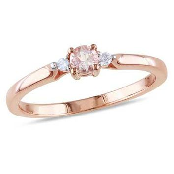 3.5mm Morganite and Diamond Accent Promise Ring in Rose Rhodium Plated Sterling Silver - Save on Select Styles - Zales