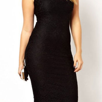 Black Bodycon Knee-Length Dress