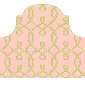 Wall Decal Headboard - Trellis - Faux Gold and Pink - Twin - Lite version