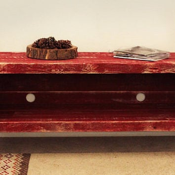 Reclaimed Wood Media Console, Red