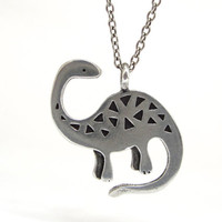 Brontosaurus Dinosaur Necklace with Geometric Pattern
