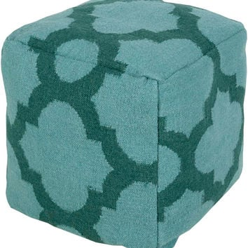 Surya Cube Hand Made Wool Pouf, Teal, Forest