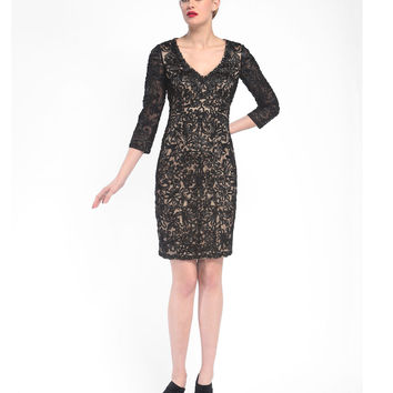 Sue Wong N5364 Black & Nude Floral Embroidered Three-Quarter Sleeve Short Dress Fall 2015