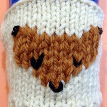Fox Cup Cozy, Slip On or Buttoned, Hand Knit to Order Beige and Brown, With or Without Whiskers, Great Gift, Wool and Acrylic