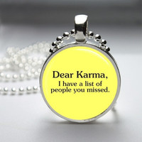 Photo Art Glass Bezel Pendant Karma Necklace