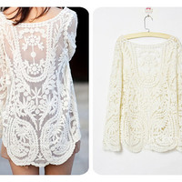 KCLOTH Women Lace and Floral Top Blouse T1365