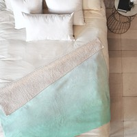 Social Proper Mint Ombre Fleece Throw Blanket