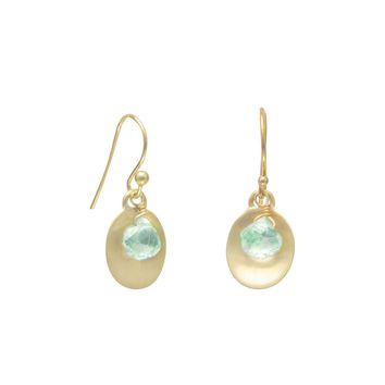 14 Karat Gold Plated Aquamarine Earrings