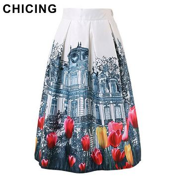 CHICING New 2017 Retro Landscape 3D Building & Tulip Flower Painting Print Flared Midi Pleated Ladies Stain Tutu Skirts A1507035