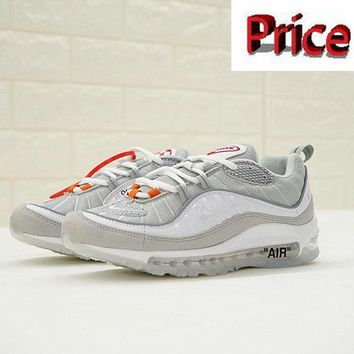 Sneaker paint Virgil Abloh x Nike Air Max 98 640744 101 Grey White shoes