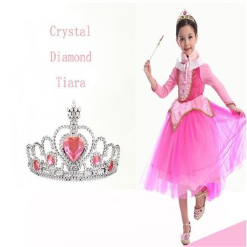 Elsa Tiaras Princess Crown Hair Accessories Crystal Diamond Candy Color Tiara Magic Wand Party Bridal Wedding Jewelry Accessory