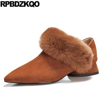 Strange Pumps Pointed Toe Slip On Unique Brown Ladies Low Heels Shoes Fur Women Suede Thick Size 4 34 New Chinese China Fashion