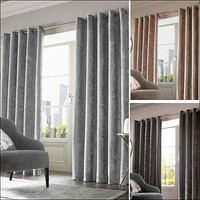 Crushed Velvet Curtains PAIR of Eyelet Ring Top Fully Lined Ready Made