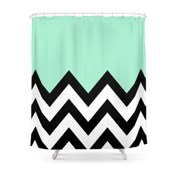 Society6 MINT GREEN COLORBLOCK CHEVRON Shower Curtains