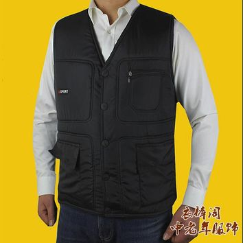 Man Autumn Plus Size Cardigan V-neck Pocket Thick Down Waistcoat Male Solid Winter Oversized Warm Down Vest Men Down Jacket