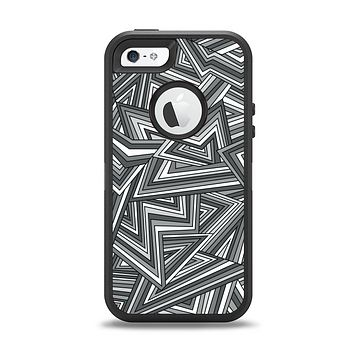 The Jagged Abstract Graytone Apple iPhone 5-5s Otterbox Defender Case Skin Set