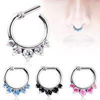 "Septum Ring Clicker 316L Surgical Steel Gemmed Princess Septum Clicker 16g 14g (14g 1/4"" 6mm Black)"