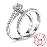1ct CZ Engagement Wedding Ring Set 925 Sterling Silver Rings For Women Band Wedding Rings Promise Ring Bridal Jewelry