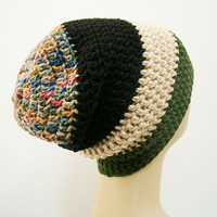 FREE SHIPPING - UNISEX Slouchy Crochet Beanie Hat - Multi, Black, Nude, Dark Forest Green