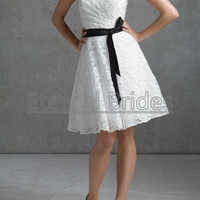 white lace Knee length strapless reception dress/ short wedding dress/ bridesmaide dress with a sash