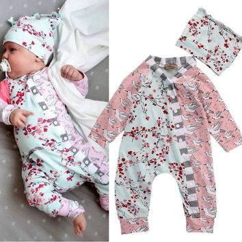 Floral Newborn Baby Girls Clothes Romper Hat Flower Casual Autumn Clothing Jumpsuit Sunsuit Outfits Set