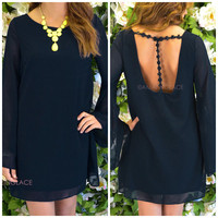 Anaheim Black Daisy T-Strap Dress