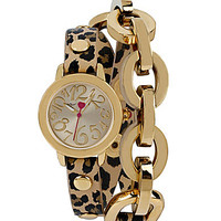 Betsey Johnson Leopard Chain Link Wrap Bracelet Watch - Leopard