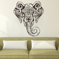 Wall Decal Elephant Indian Pattern Decal Vinyl Sticker Wall Decor Home Interior Design Art   MN 317