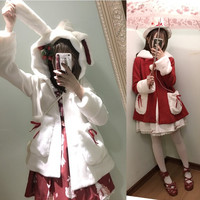 Japanese kawaii lolita rabbit ears hooded woolen coat
