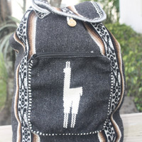 Peruvian Handmade tribal backpack  dark grey