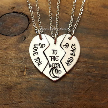 Love You To The Moon And Back Handstamped 3 Piece Necklace Set, 3 Piece Heart Sister Jewelry, Mothers Day, Mother Daughter Jewelry, Friends