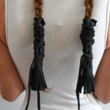 Black Leather Braid Wraps with Fringe, Native American, Handmade, Powwow, Festival, Hippie, Mountain Man, Rendezvous