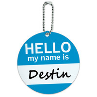 Destin Hello My Name Is Round ID Card Luggage Tag