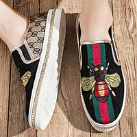 GUCCI Fashion New Stripe Embroidery Bee More Letter Men Shoes