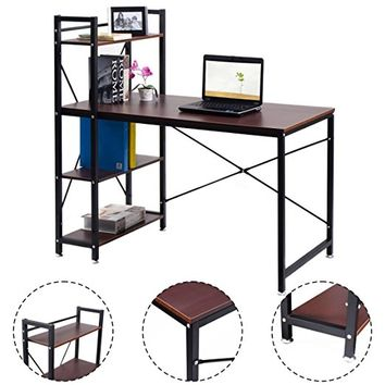 Tangkula computer desk compact desk with 4 shelves Home office study table (Brown)