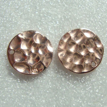 2 pcs, 10mm Sterling Silver Rose gold Hammered Disc Pendant, Earring Findings