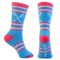 Aztec Girls Lacrosse Socks (Neon Blue)