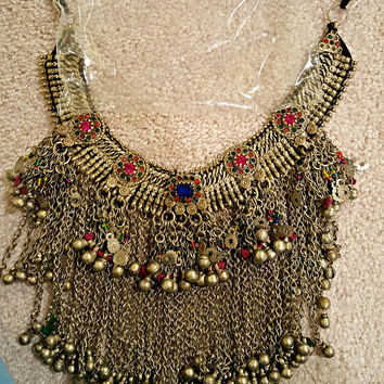 Afghan tribal jewelry/ Kuchi statement necklace/ Bohemian stacking necklace